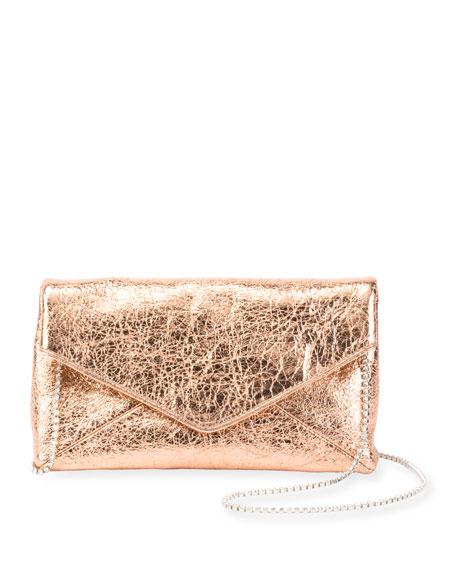 Crinkled Metallic Leather Chain Shoulder Bag