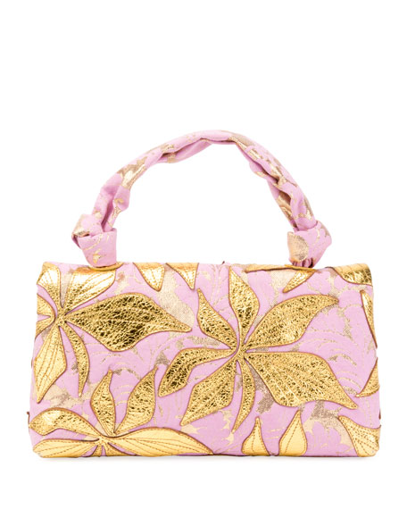 Metallic Leaf Top-Handle Bag