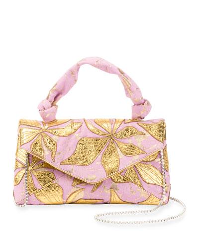 Metallic Leaf Top-Handle Bag