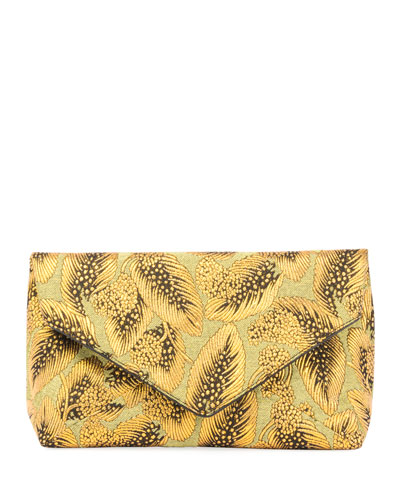 Metallic Leaf Jacquard Clutch Bag