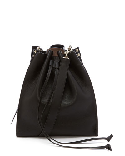 Leather Drawstring Bucket Bag