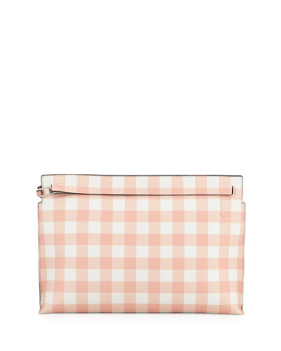 Gingham Leather T Pouch