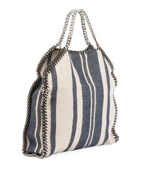 Striped Canvas Chain Falabella Tote Bag