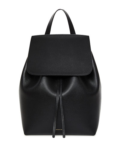 Saffiano Leather Flap-Top Backpack, Black/Red