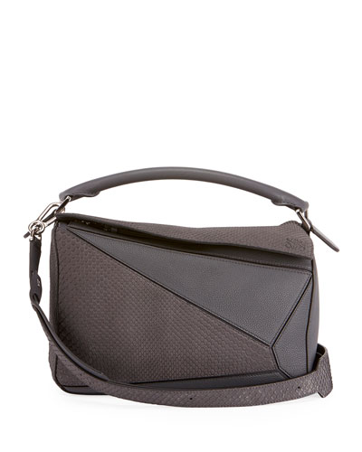 Puzzle Colorblock Python and Leather Bag