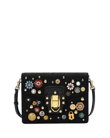 f86e382ddc43 Dolce   Gabbana Lucia Embellished Velvet Shoulder Bag