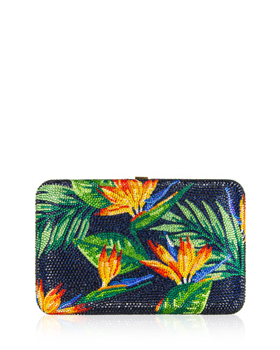 Seamless Bird of Paradise Crystal Clutch Bag