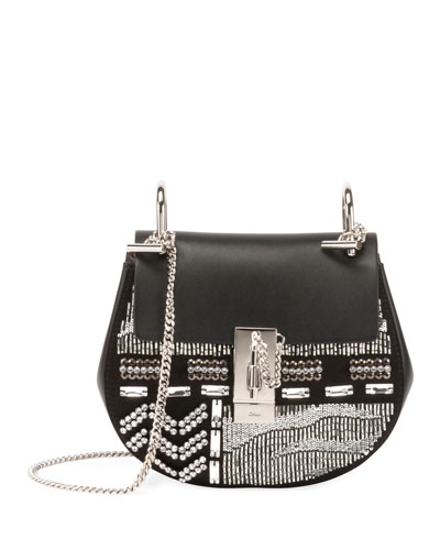 Drew Embellished Leather Shoulder Bag