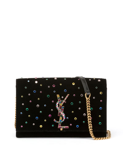 Kate Jeweled Velvet Wallet on Chain