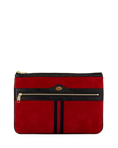 Ophidia Large Suede Clutch Bag