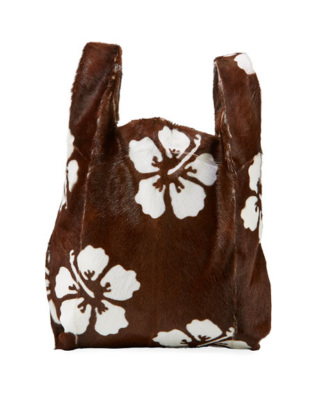 Furrissima Hibiscus Calf Hair Shopper Tote Bag
