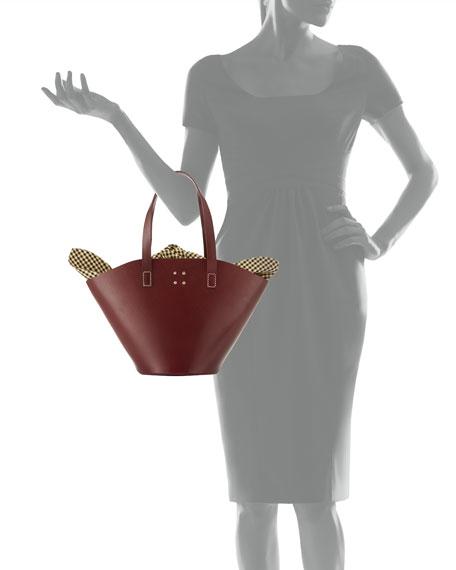 Large Leather Basket Bag w/Gingham Insert