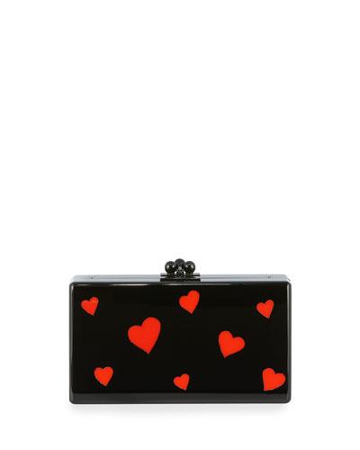 Jean Hearts Acrylic Box Clutch Bag