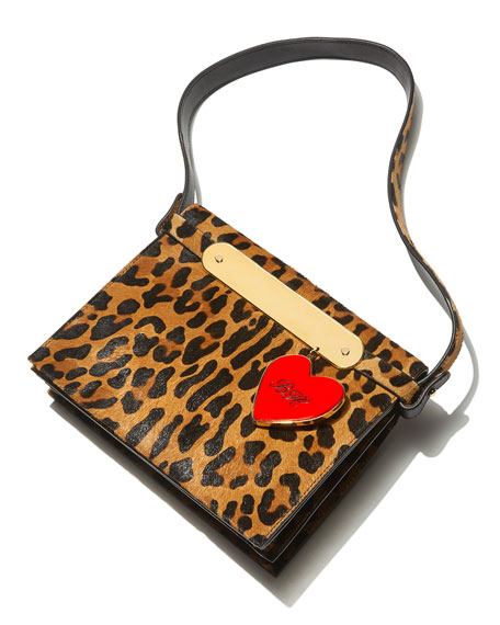 Candy Leopard-Print Fur Clutch Bag
