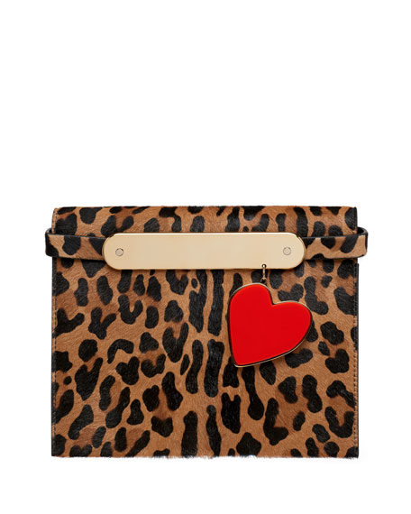 Candy Leopard-Print Fur Clutch Bag