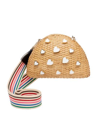 Wicker Heart Crossbody Bag
