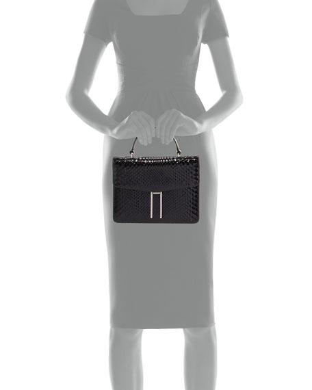 Top-Handle Shiny Python Bag