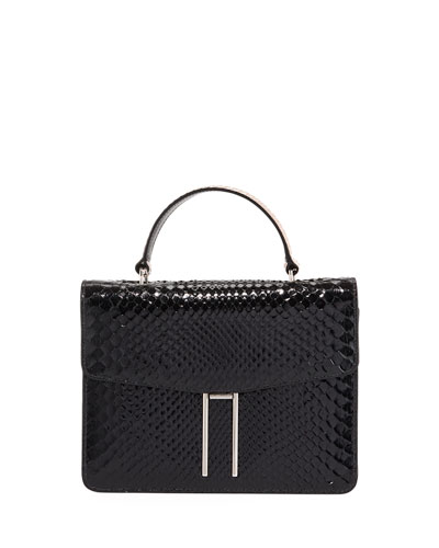 Top-Handle Shiny Python Bag