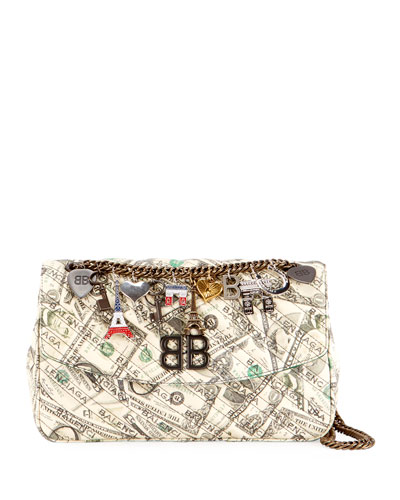 BB Dollar-Print Leather Chain Shoulder Bag
