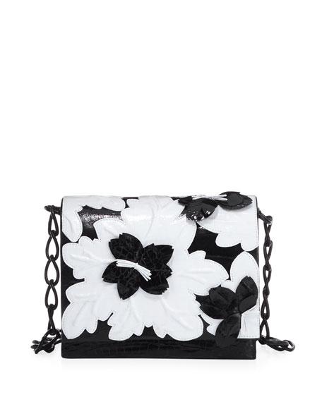 Laser-Cut Floral Crocodile Shoulder Bag