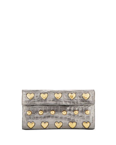Crocodile Heart Studs Flap Clutch Bag