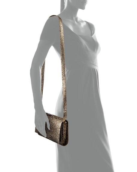 Carrie Convertible Chain-Trim Metallic Python Flap Bag