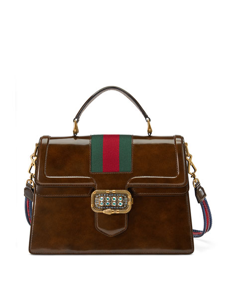 Linea Medium Top-Handle Bag With Snake-Frame Buckle, Brown