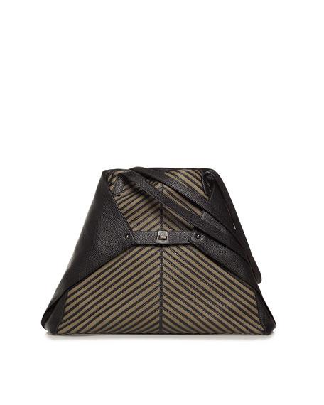 Ai Medium Soft Leather Shoulder Bag, Green/Black