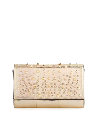 Paloma Snakeskin Studded Clutch Bag
