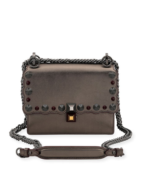 Fendi Kan I Mini Scalloped Studded Chain Shoulder