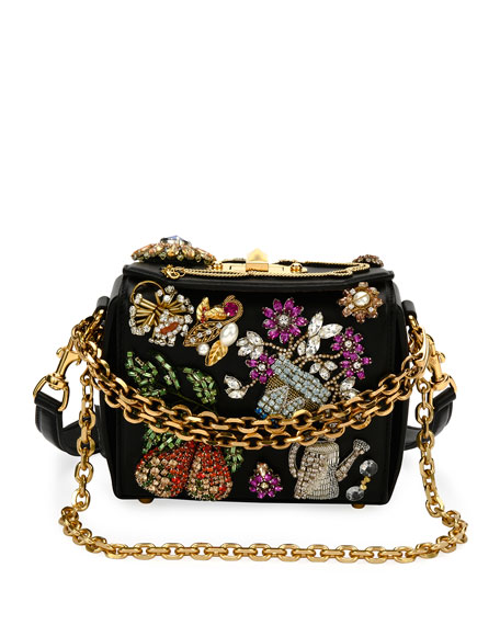 Beaded Leather Chain Box Bag