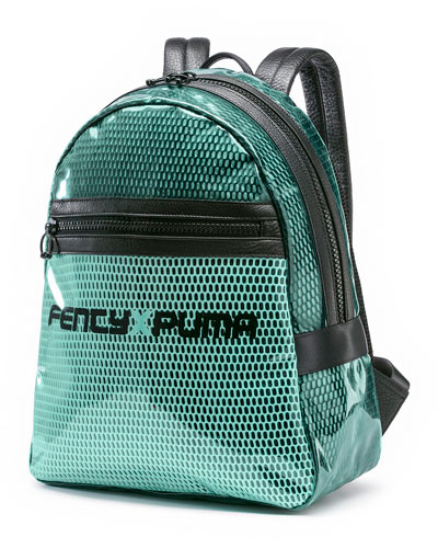 Clear Airmesh Backpack w/ Leather Trim