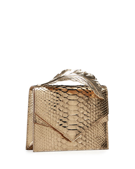 Alina Metallic Python Clutch Bag, Gold