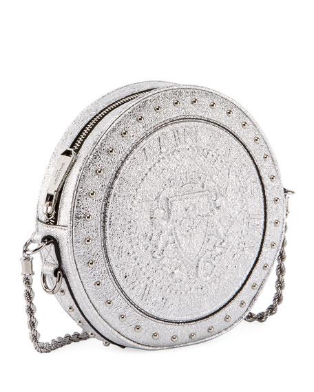 Metallic Leather Circle Crossbody Bag