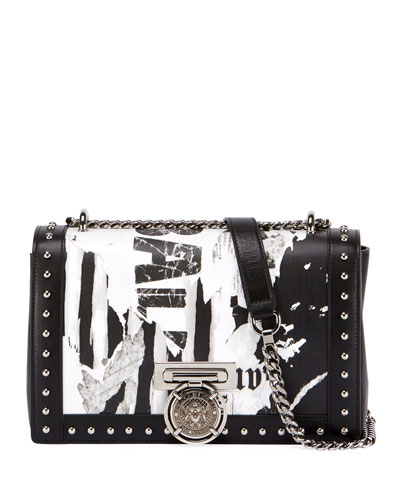 Box 20 Newspaper Crossbody Bag, Black/White