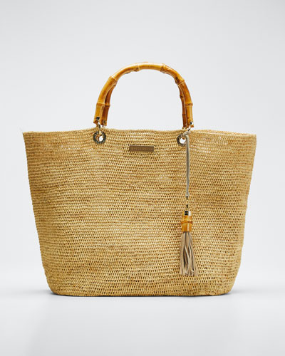 Savannah Bay Medium Raffia Tote Bag