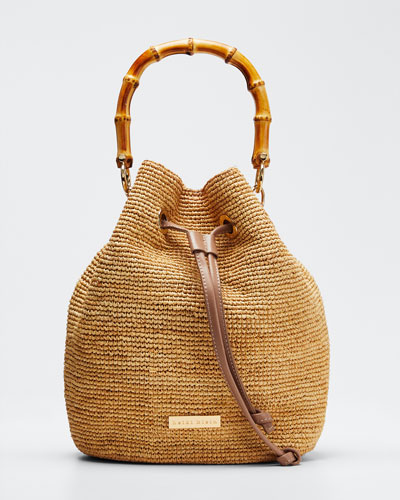 Savannah Bay Raffia Bamboo Mini Bucket Bag