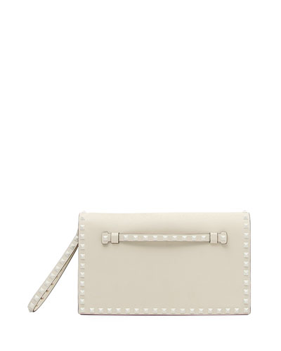 Monochrome Rockstud Leather Wristlet Clutch Bag