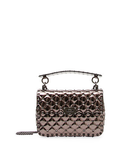 Rockstud Spike Medium Metallic Fabric Shoulder Bag