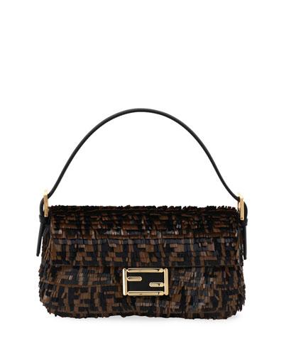 FF Paillette and Calf Baguette Shoulder Bag