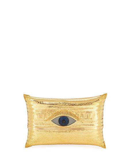 BEGÜM KHAN Evil Eye Cushion Small Minaudiere Clutch Bag, Gold
