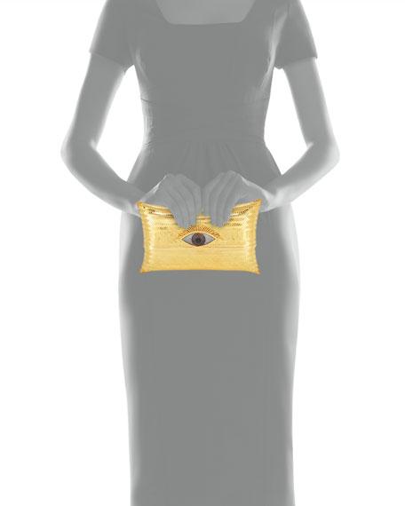 Evil Eye Cushion Large Minaudiere Clutch Bag, Gold