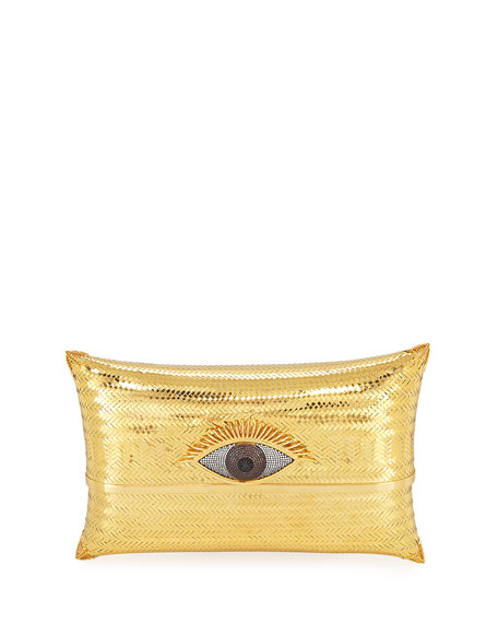 BEGÜM KHAN Evil Eye Cushion Large Minaudiere Clutch Bag, Gold