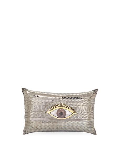 Evil Eye Cushion Small Minaudiere Clutch Bag, Gray