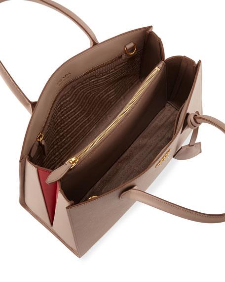 Large Bicolor Saffiano Side-Pleat Tote Bag