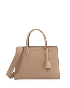 Prada Large Bicolor Saffiano Side-Pleat Tote Bag 59317b0fbaf74