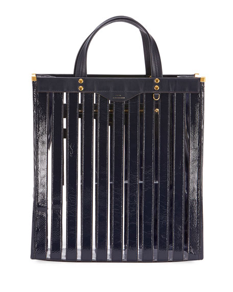 Multi Stripes Patent-Leather And Vinyl Tote, Blue