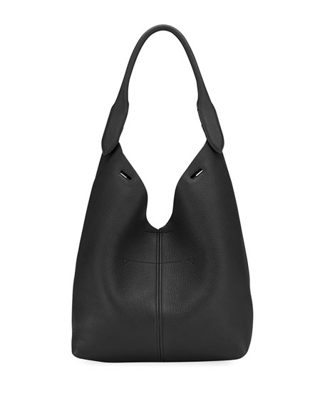 Build A Bag Mini Grain Leather Bucket Bag, Black