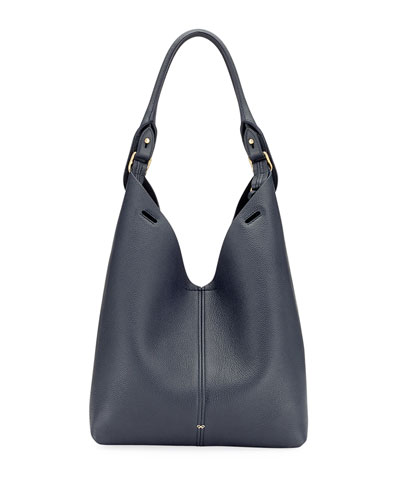 Build A Bag Mini Grain Leather Bucket Bag, Navy