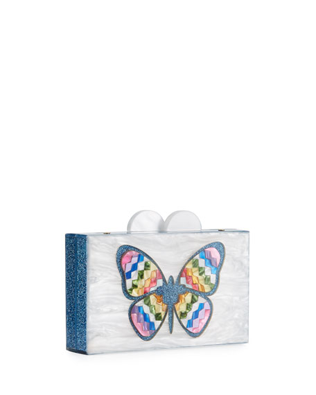 Girls' Elizabeth Sutton Rainbow & Butterfly Acrylic Box Clutch Bag